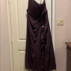 Chiffon bridesmaid dress dark brown
